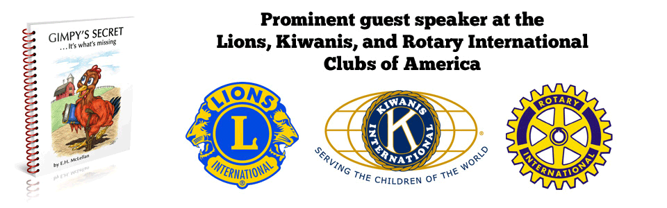 Prominent guest speaker at the Lions, Kiwanis, and Rotary International Clubs of America